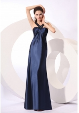 Cheap Beaded Decorated Column Taffeta Prom Dress in Navy Blue