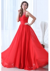 Fancy Red Princess Straps Chiffon Prom Dresses with Appliques