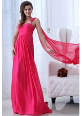 Empire Straps Hot Pink Prom Pageant Dress with Beading and Ruching