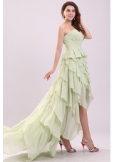 Light Green High Low Ruffled and Ruched Prom Mother Dresses