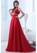 V-neck Beaded Decorated A-line Red Prom Dress with Brush Train