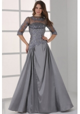 Half Sleeves Bateau A-line Beaded Appliques Prom Party Dresses