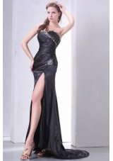 Beading and Ruching High Slit Black Prom Pageant Dress with Tail