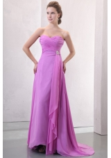 Chic Ruched Empire Chiffon Prom Formal Dress with Sweep Train