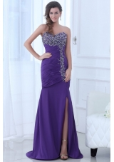 Paillettes and Ruching Slit Chiffon Prom Dress with Sweep Train