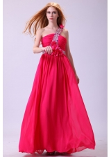 Beaded One Shoulder A-line Prom Dress with Flowers for Women