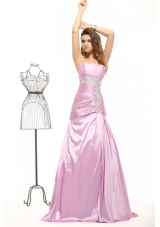 A-line Ruched and Beaded Taffeta Prom Evening Dress for Ladies