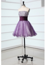 Mini-length Lilac Organza Prom Nightclub Dress with Sequin Bust