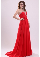Simple Red Empire Chiffon Prom Gowns in Red with Sweep Train
