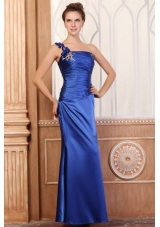 Handle Flowers One Shoulder Column Ruching Blue Prom Dresses