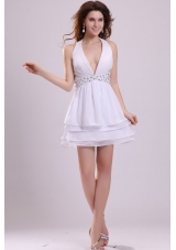 Mini-length White Halter Top Layers Prom Dresses with Beading