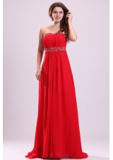 Chic Paillettes Empire Red Chiffon Prom Dresses with Brush Train