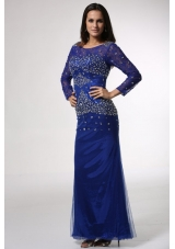 Noble Blue Scoop Long Sleeves Column Prom Dress with Beading