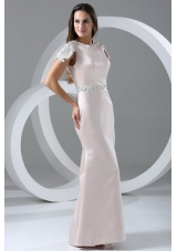 Cap Sleeves Scoop Neckline Column Full Length Prom Gown Dress