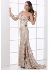 Stunning Sequins Champagne One Shoulder Long Sleeve Prom Dress