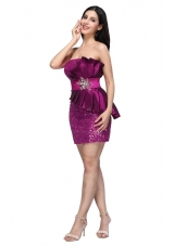 Column Fuchsia Strapless Sequins Ruching Short Prom Holiday Dress