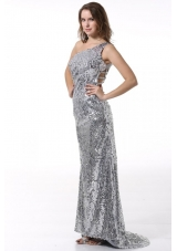 Stunning Sequin Column One Shoulder Sliver Prom Evening Dress