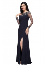 Slit Column Scoop Navy Blue Prom Celebrity Dress with Long Sleeves