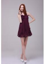 Dark Purple Strapless with Hand Made Flower Short Prom Dress