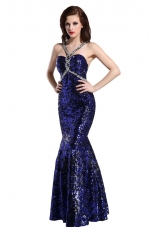 Mermaid Straps Sequins Beading Prom Pageant Dress in Royal Blue