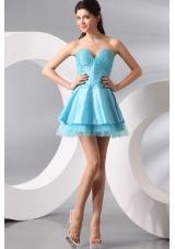 Princess Light Blue Sweetheart Mini-length Beading Prom Party Dress