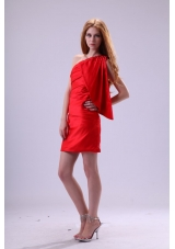 Hot Seller Red Column One Shoulder Prom Dress with Ruching