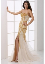 Fitted Champagne Sweetheart Column Beaded Decorate Prom Gown Dress