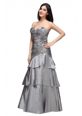 Gray Sweetheart Appliques and Ruche Ruffled Layers Prom Dress