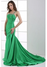 Green Beading One Shoulder Sweep Train Prom Dress with Ruches