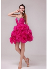 Hot Pink Sweetheart Knee-length Hand Made Flowers Prom Dress