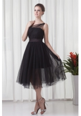 Chic One Shoulder Black Tulle Tea-length 2014 Prom Gown Dress