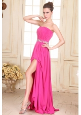 Hot Pink Beading Decorated Waist Strapless Chiffon Empire Prom Gown