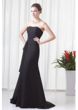 Black Column Strapless Brush Train Ruche Dress for Prom with Lace up