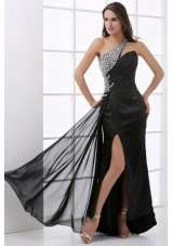 Beading Decorate One Shoulder Black Prom Dress with Slit