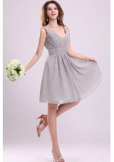 Chiffon Knee-length Empire Gray V-neck Ruching Prom Pageant Dress
