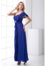 Royal One Shoulder Prom Dress with Beading and Floral Sleeves