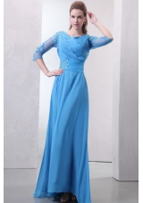 Empire Scoop Appliques with Beading Blue Prom Dress with Sleeves
