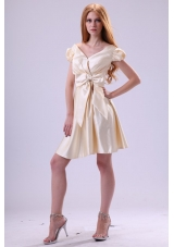 Light Yellow V-neck Cap Sleeves Bow Ruching Prom Homecoming Dress