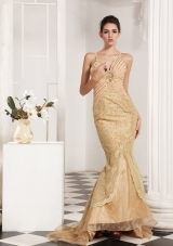 Champagne Mermaid Style Lace and Beading Decorate Prom Dress