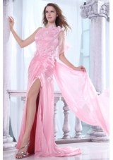 One Shoulder Column Flower and Beading Dress for Prom in Baby Pink