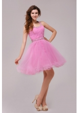 2014 Rose Pink Halter Top Beading and Ruching Prom Cocktail Dresses