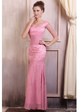 Baby Pink Square Neckline Chiffon Prom Dress with Lace Sleeves