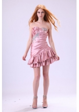 Asymmetrical Pink Short Senior Prom Dress with Ruches and Beading
