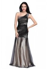 Sexy One Shoulder Prom Dress with Ruching Cross Cross Back
