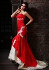 Hot Red Sweetheart Mermaid Prom Dress with Lace Decorate
