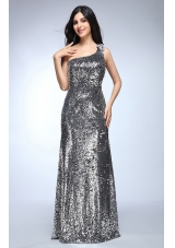 Sheath Silver One Shoulder Sequins Beading Floor-length Prom Dresses