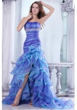 Strapless Beading and Ruffles Layered Mermaid Multi-color Prom Dress
