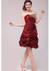 Burgundy Strapless Taffeta Prom Dress with Beading and Pick Ups
