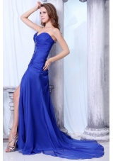 Royal Blue Sweetheart Prom Dress with Ruches and Brush Train