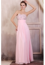 Sweet Baby Pink Sweetheart Empire Prom Dress with Rhinestones